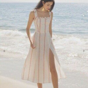Reformation White Red Striped Lavender Maxi Dress